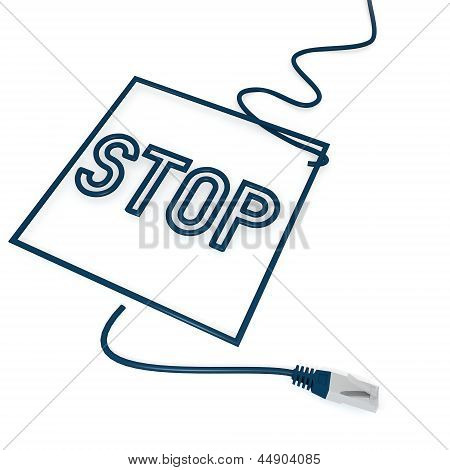 Illustration of a isolated stop symbol with cat5 network cable