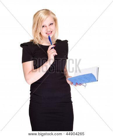 mujer de negocio feliz con agenda aislado