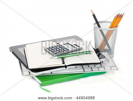 Office supplies and computer devices. Isolated on white background