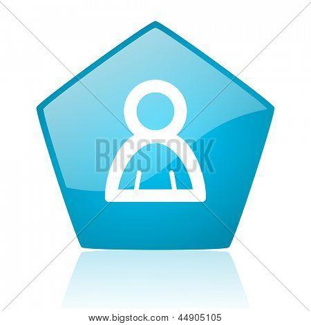 account blue pentagon web glossy icon