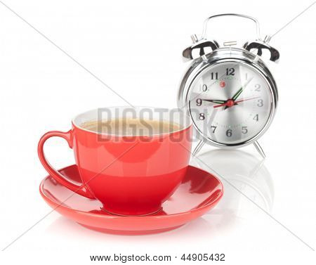 Morning coffee time. Isolated on white background