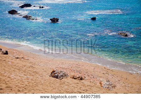 Sandy Beach Near Azure Sea