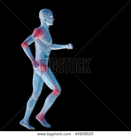 High resolution concept or conceptual man anatomy illustration with pain or ache isolated on black background