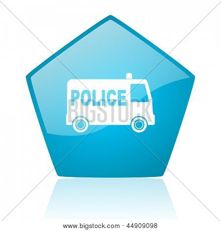 police blue pentagon web glossy icon