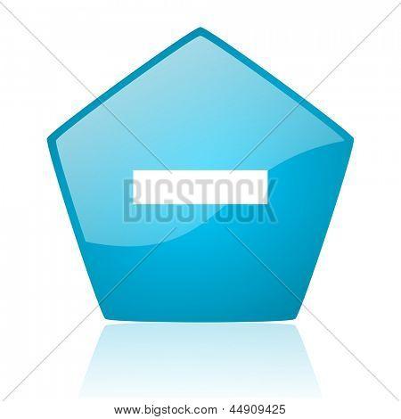minus blue pentagon web glossy icon