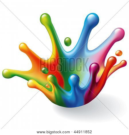 Color Splash on White Background. Vector Illustration