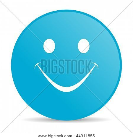 smile blue circle web glossy icon