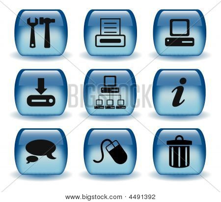 Glossy Blue Web Icons Set