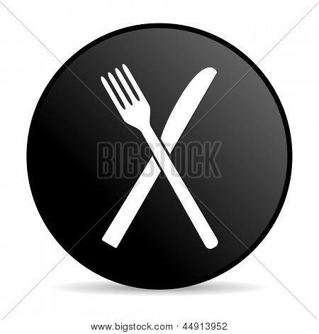 ícone brilhante de alimentos círculo preto web