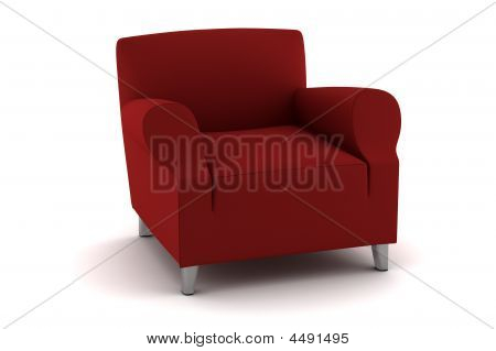 Red Armchair Isolated On White