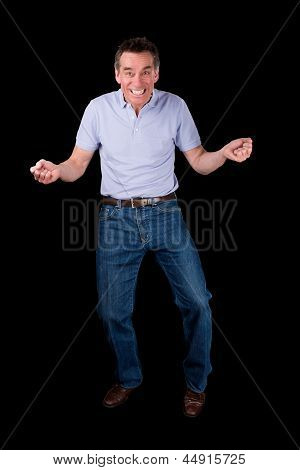 Funny Middle Age Man Dancing With Cheesy Grin
