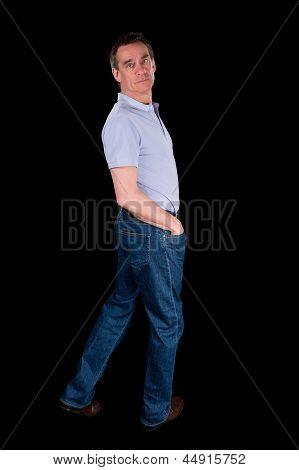 Man Looking Backwards Over Shoulder