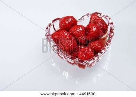 Strawberry In A Syrup In Glass Heart