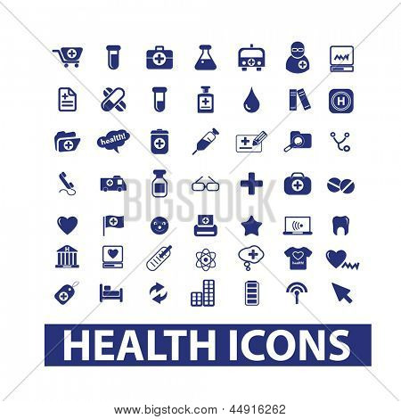 health, hospital, medical & doctor icons, signs set, vector