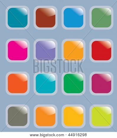 glossy square web buttons set, vector