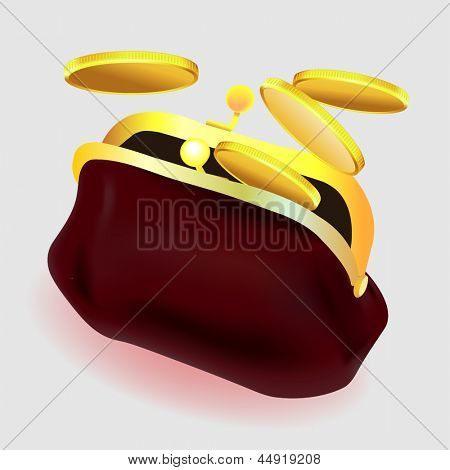 vinous purse with coins. Illustration on white background for design