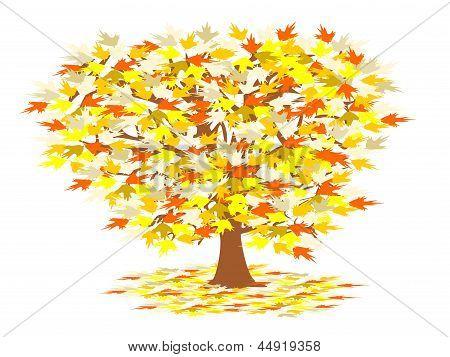caída de árbol con hojas