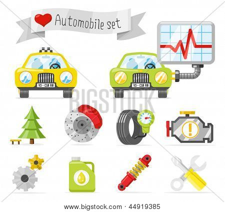 Automobile lovely icons set