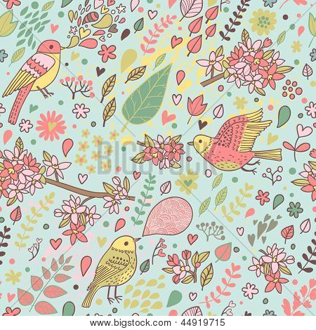 Seamless texture flowers birds vector photo bigstock - Papier peint oiseaux ...