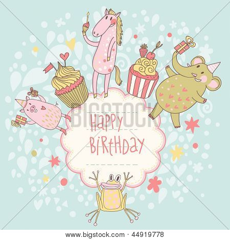 Funny happy birthday card. Cute animals � elephant, pig, horse and frog with tasty cupcakes in vector. Cartoon childish background