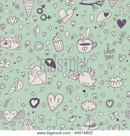 Cartoon concept seamless pattern with birds, hot cups, letters, cupcakes and hearts. Seamless pattern can be used for wallpapers, pattern fills, web page backgrounds, surface textures.