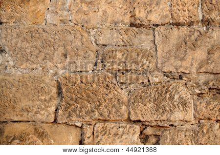 Close Up Of Sandstone Brick Wall