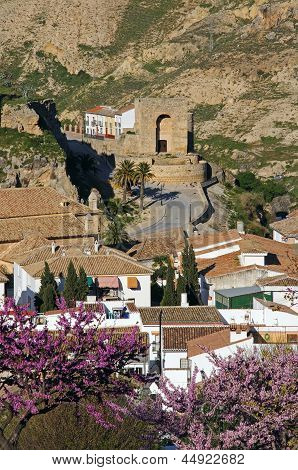 Arabic tower and town rooftops, Antequera.