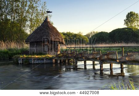 Thatched Fisherman's Hut & Eel Traps