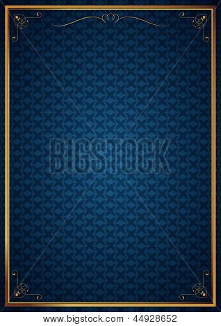 Corner patterns in blue wallpaper