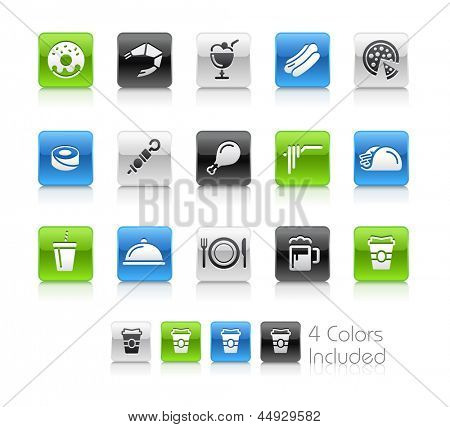 Food Icons - 2 / The file Includes 4 color versions in different layers.