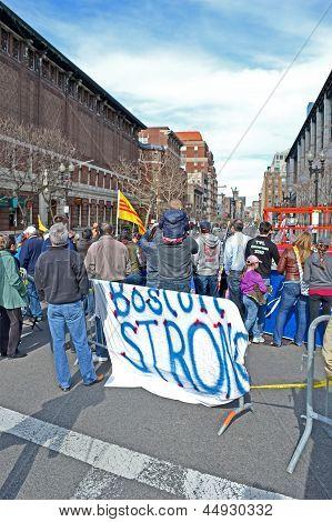 Boston - Apr 20: People Near Memorial Set Up On Boylston Street In Boston, Usa On April 20, 2013.