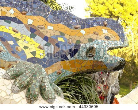 Dragon By Park Guell. Barcelona.