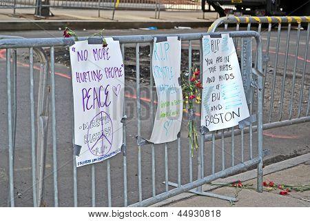 Boston - Apr 20: Memorial Set Up On Boylston Street In Boston, Usa On April 20, 2013.