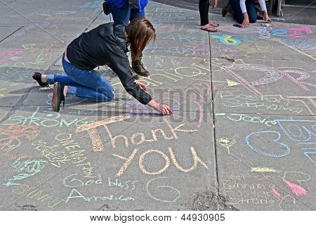 Boston - Apr 20: Graffiti Near Boylston Street In Boston, Usa On April 20, 2013.