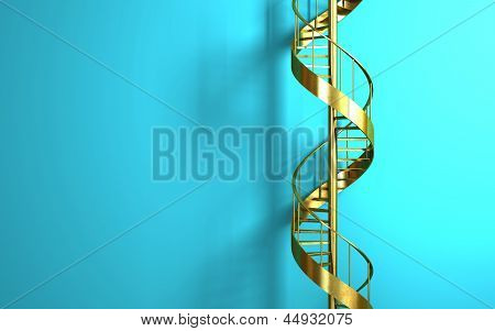 Golden Spiral Staircase On The Blue Wall