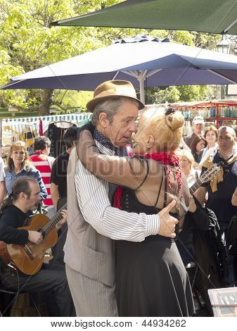 Tango Dancers Performs In San Telmo