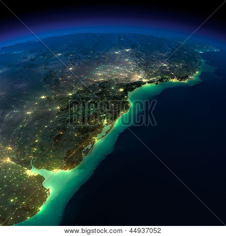 Night Earth. A Piece Of South America - Argentina, Uruguay And Brazil
