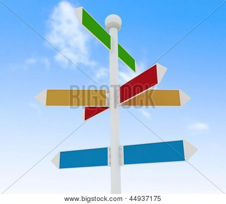 Direction road signs on blue sky  background. 3d render illustration