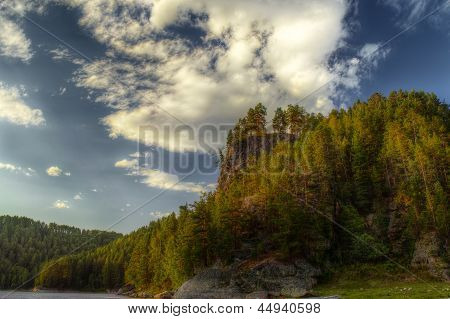 The Hdr Image Of Rocks With Pain Forest And Blue Sky
