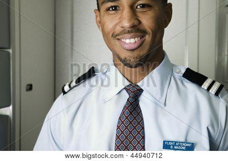 Close up portrait of male flight attendant