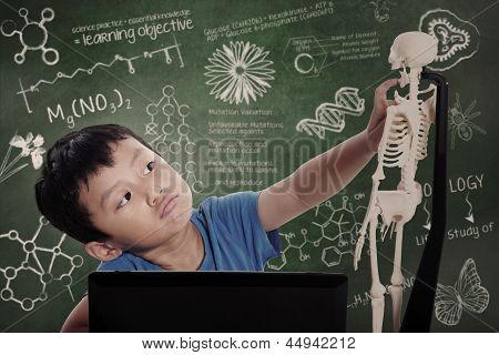 Little Boy Learns Human Anatomy