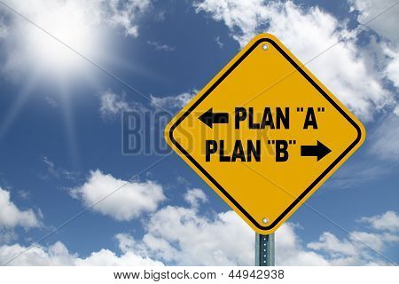 Yellow decision planning road sign