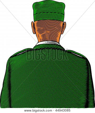 Soldier from back or rear view