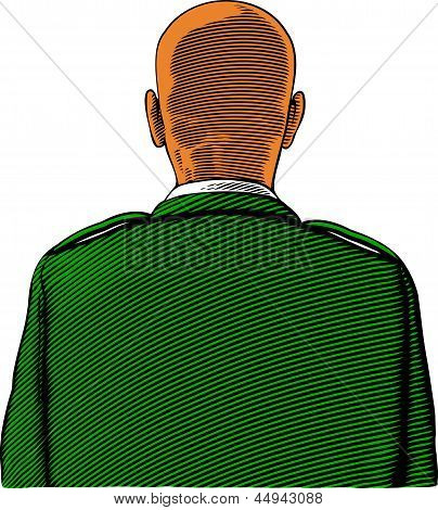 Bald soldier from back or rear view in engraving style