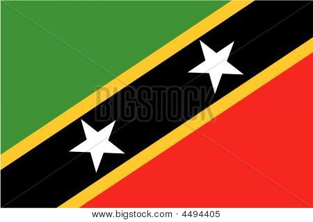 Flag Of Saint Christopher And Nevis. Illustration Over White Background