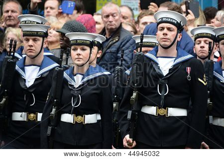 LONDON - UK, APRIL 17: Soldiers lining Baroness Thatcher procession route on Ludgate Hill, on April 17, 2013 in London.