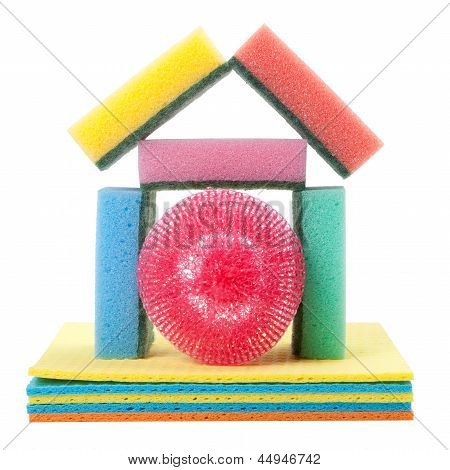 Home From Dish Washing Sponge, Dishcloth, Scrub Pad, Isolated
