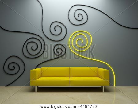 Interior Design - Yellow Couch And Decorated Wall