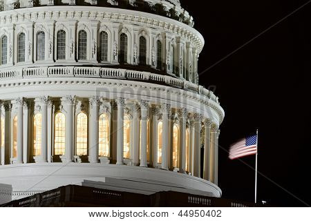 Capitol building dome detail at night - Washington DC
