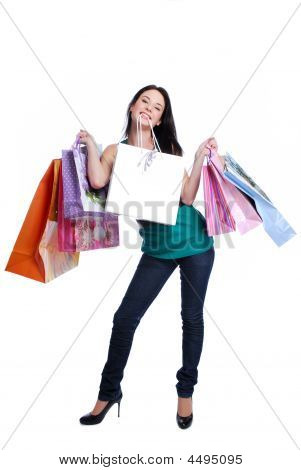 Funny Young Woman Shooping